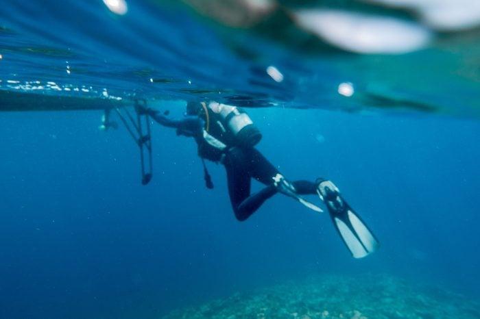 Diver near boat