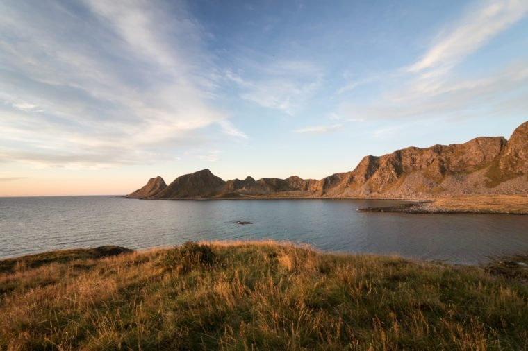 Lofoten. Sea and mountains of Vaeroy, Lofoten in Norway