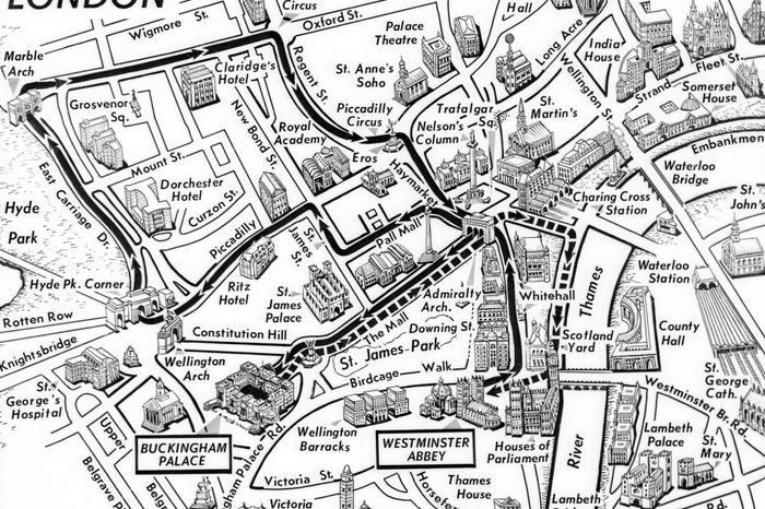 This map show the routes for the coronation procession