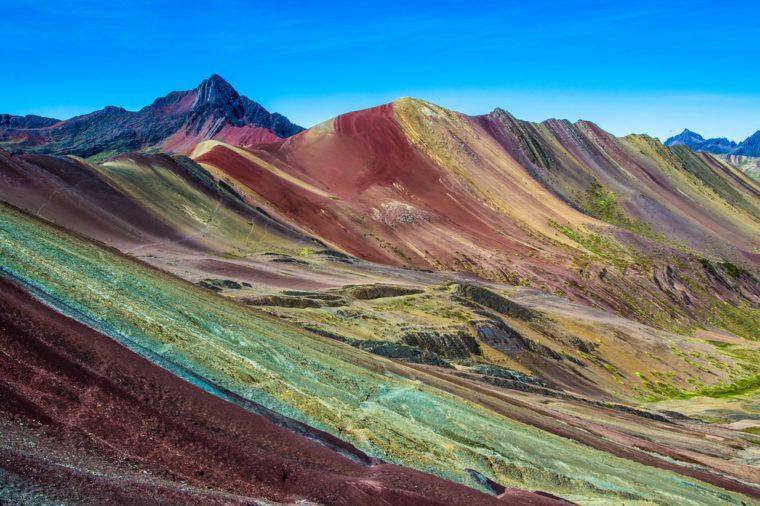 Vinicunca, Peru - Rainbow Mountain (5200 m) in Andes, Cordillera de los Andes, Cusco region in South America. Mountains Peru landscape