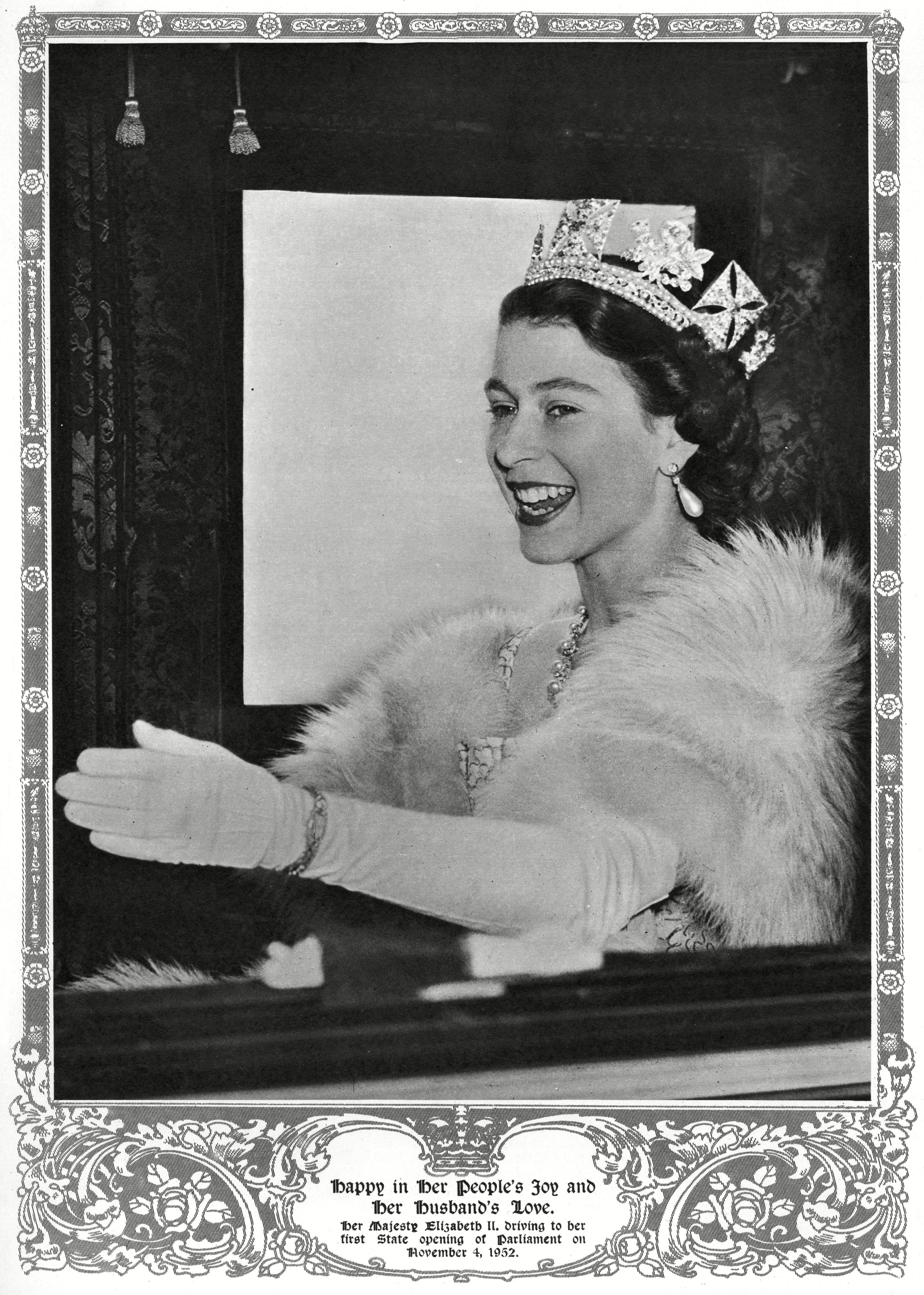 Queen Elizabeth Ii Wearing A Fur Stole