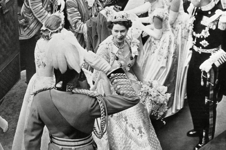 Queen Elizabeth Ii Accompanied by Her Maids of Honour