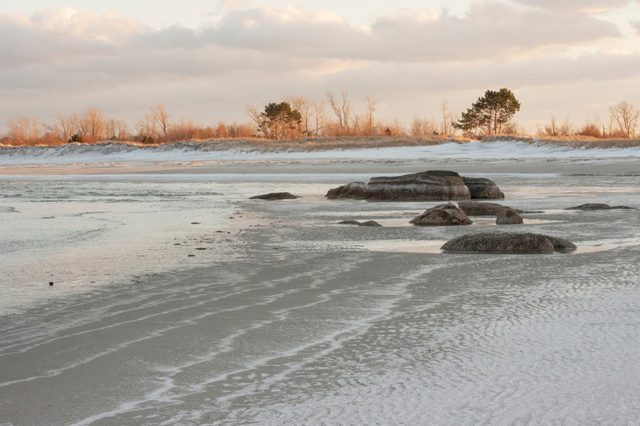 Wingaersheek beach Gloucester Massachusetts on a cold winter day