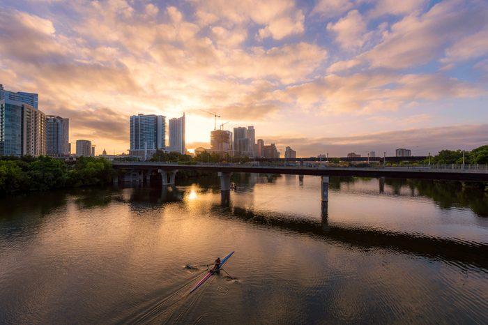 Morning kayaking in Colorado river Austin downtown, Texas