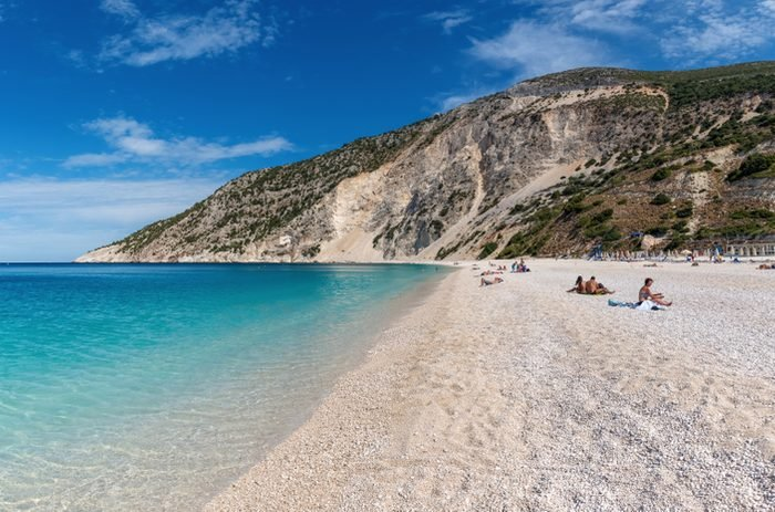 KEFALONIA, GREECE - September 30, 2017: Panoramic view of beautiful beach at Myrtos Bay on the Ionian island of Kefalonia. Greece