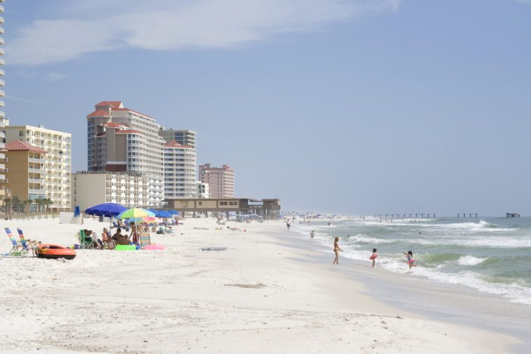 Lots of people enjoying the beach at Gulf Shores, AL.
