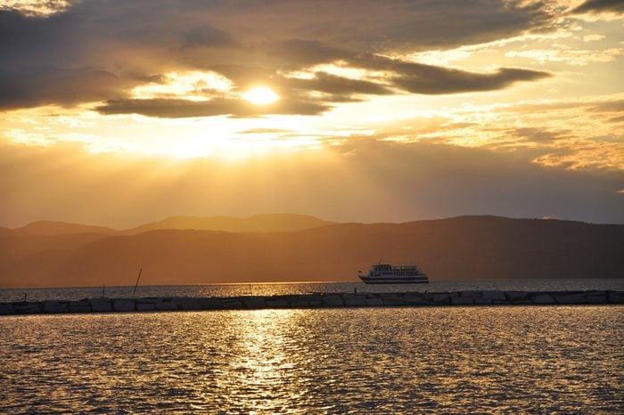 Sunset and Cruise in Lake Champlain, Burlington, Vermont, USA