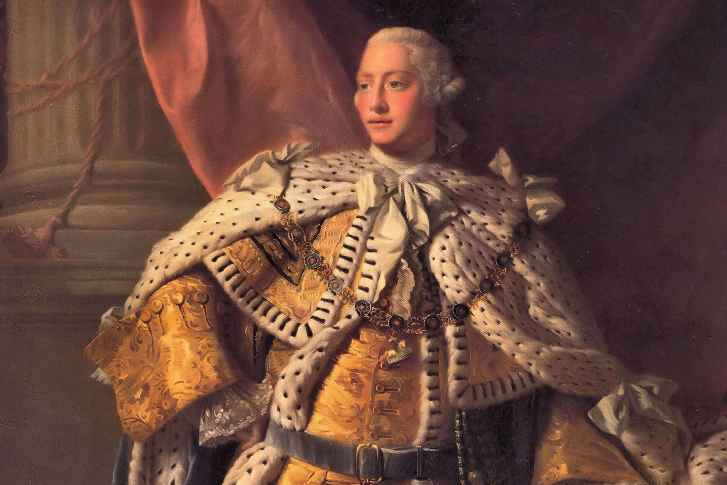 George III ((1738-1820) King of Great Britain from 1760. Portrait of 1767 from the studio of Alan Ramsay.