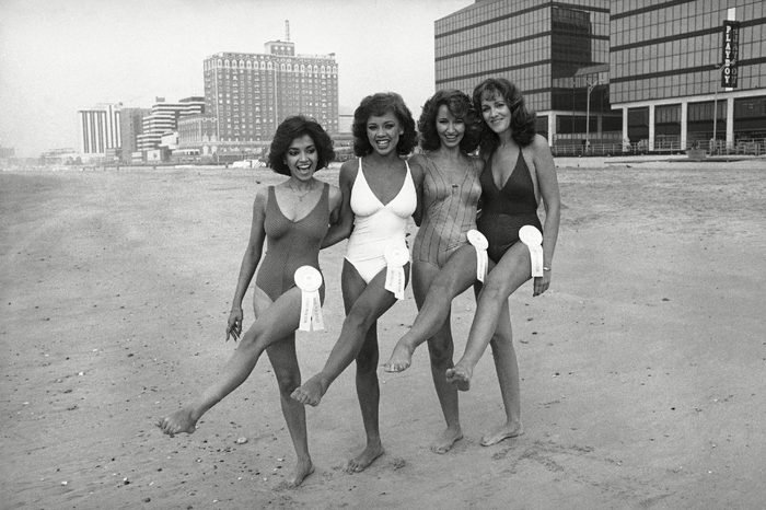 Pictured on the beach in Atlantic City at the Miss America Pageant are from left: Suzette Charles, Miss N.J.; Vanessa Williams, New York; Jennifer Eshelman, Pa.; and Dakeita Vanderburg, Conn., shown