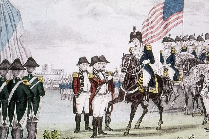 American War of Independence (1775-1783) English commander Charles Cornwallis (1738-1805) surrendering Yorktown to the colonists, October 1781. Coloured engraving.