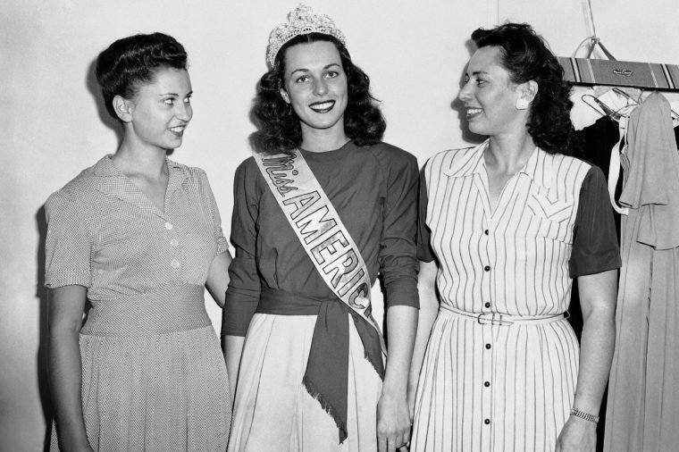 Bess Myerson, Helen Myerson, Sylvia Grace Miss America, Bess Myerson, center, poses with her two sisters, Helen Myerson, left, and Sylvia M. Grace, after walking off with the honors at the annual Beauty Pageant held at Atlantic City, N.J., . An accomplished flautist, she plans to use the $5,000 scholarship accompanying her title for the advanced study of music here and abroad