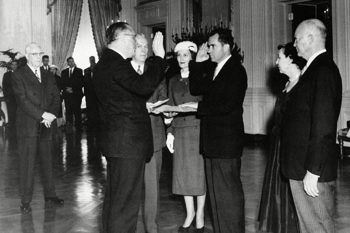 Dwight Eisenhower The private swears in Vice President Richard Nixon at the White House ceremony in Washington . From left are: Chief Justice Earl Warren; Sen. William Knowland (R-Calif), administering the oath; Frank K. Sanderson, White House administrative aide; Mrs. Nixon, Vice President Richard Nixon; Mrs.Maie Eisenhower and the President Dwight Eisenhower