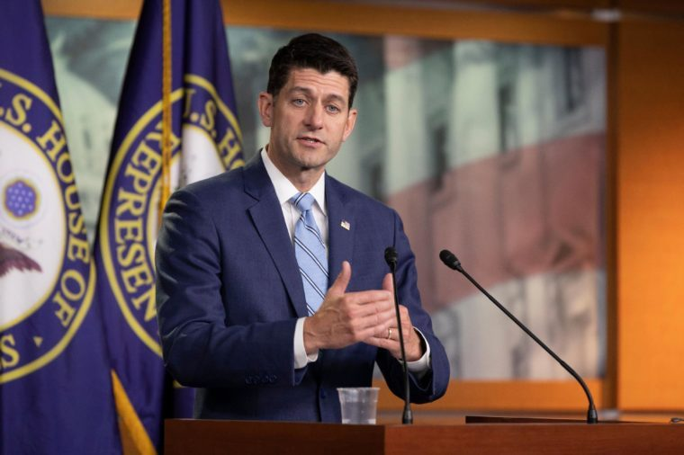 Speaker of the House of Representatives Paul Ryan, Republican of Wisconsin, speaks with reporters during his weekly press conference on Capitol Hill in Washington, DC.
