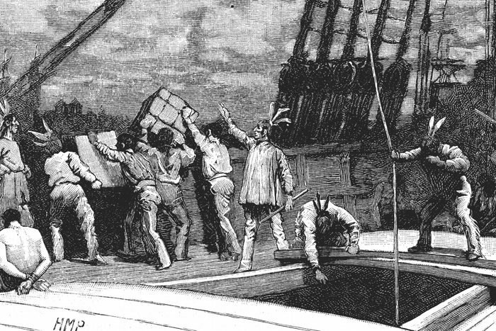 Boston Tea Party, 26 December 1773. Inhabitants of Boston, Massachusetts, dressed as American Indians, throwing tea from vessels in the harbour into the water as a protest against British taxation. No taxation without representation. Wood engraving, late 19th century.