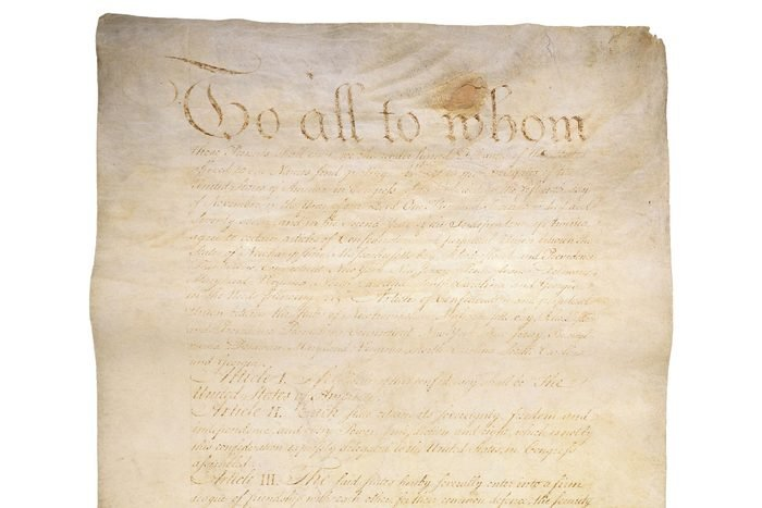 Engrossed and corrected copy of the Articles of Confederation, showing amendments adopted, November 15, 1777. (Page 1)