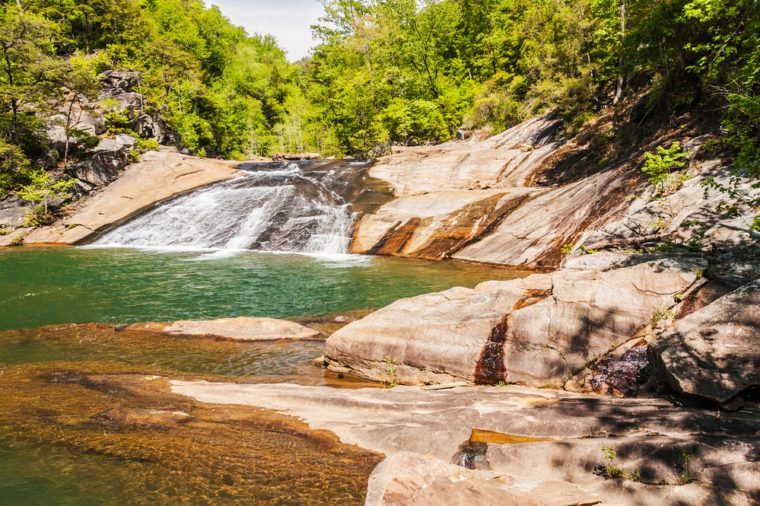 Bridal veil falls on the Tallulah Gorge floor. Local name, sliding rock.