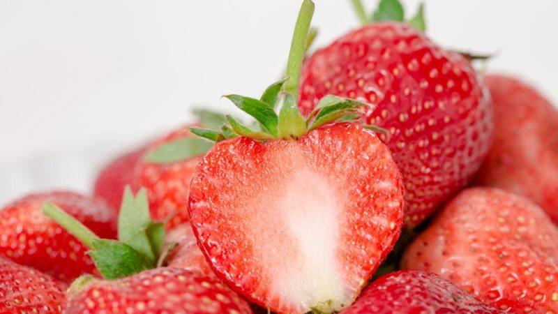 Fresh strawberries fruit on white background
