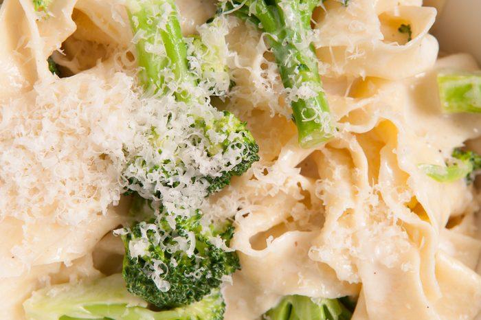 tagliatelle alfredo primavera, creamy sauce with vegetables and home made pasta