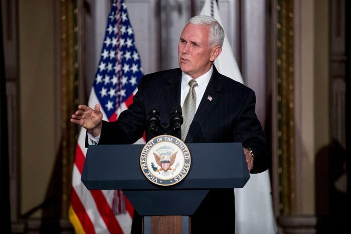 Vice President Mike Pence speaks at a reception for the Organization of American States in the Indian Treaty Room at the Eisenhower Executive Office Building on the White House complex in Washington, as the Trump administration renewed its call Monday for the Organization of American States to suspend Venezuela and for other members to step up pressure on the country's government to restore constitutional order