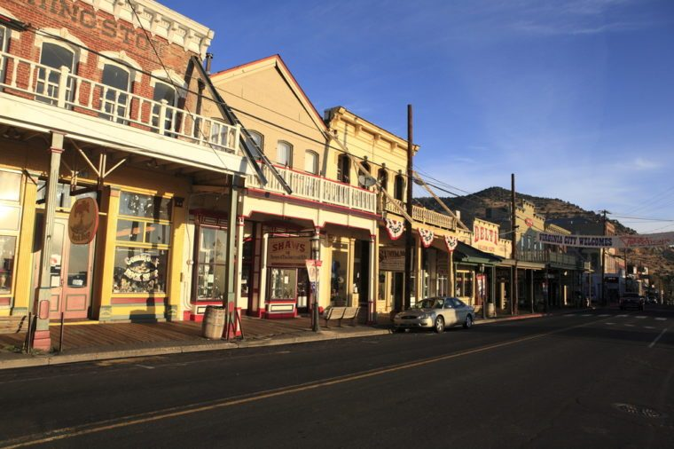 Virginia City, Nevada - Sep 17, 2017: The downtown overhang main street in the morning