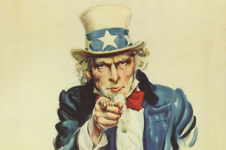 Washington, D.C.: 1917. An Army recruiting poster featuring Uncle Sam that was created by American artist James Montgomery Flagg. It's use was revived again for World War II.