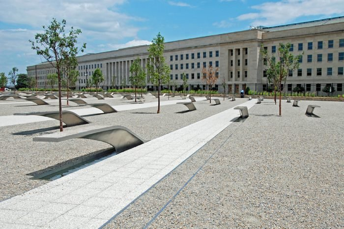 WASHINGTON DC - CIRCA JUNE 2009: Pentagon memorial circa June 2009 in Washington DC, USA. Permanent outdoor memorial to people killed in building and in Flight 77 in the September 11, 2001 attacks.