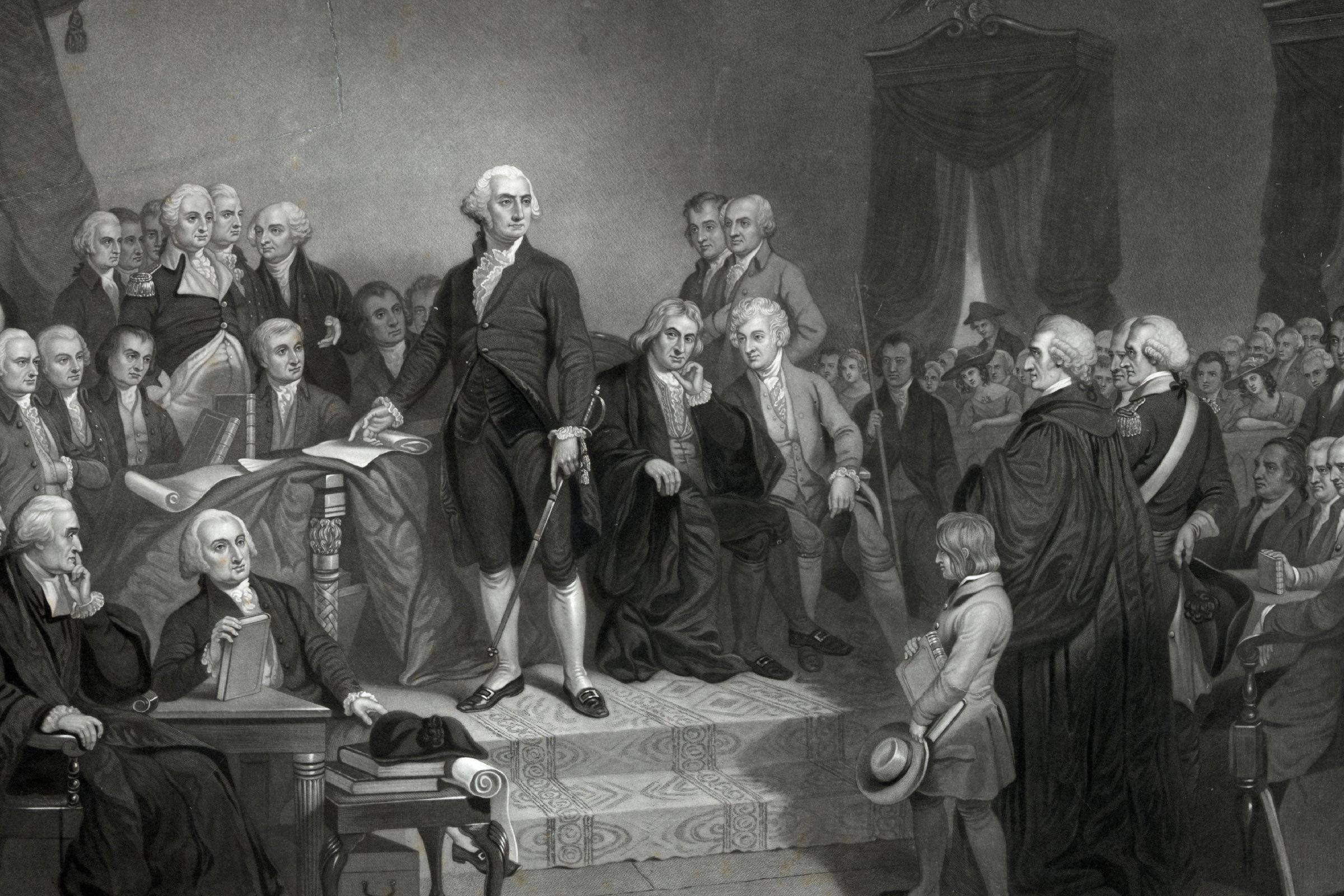 Washington delivering his inaugural address in the old city hall, New York' George Washington delivering his inaugural address before members of the Congress. Includes text of speech.