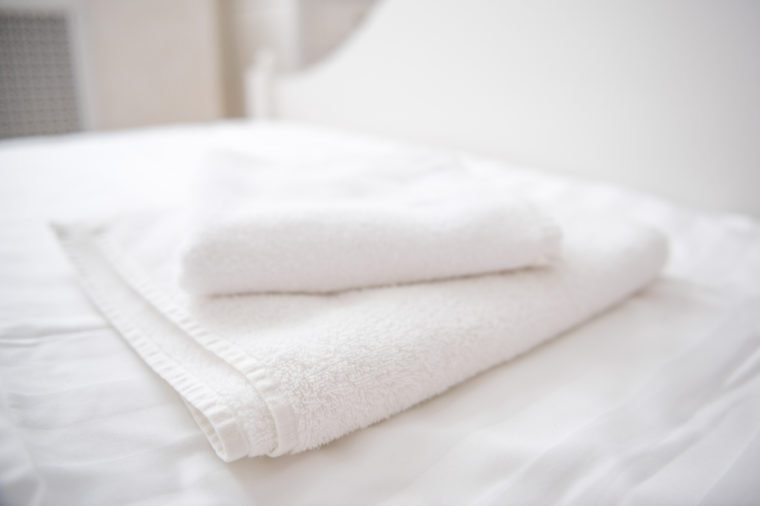 white towels on the bed
