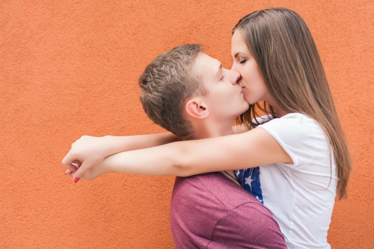 Happy Valentines Day couple kissing, 14th February celebration, Valentine. Love concept. Copy space background
