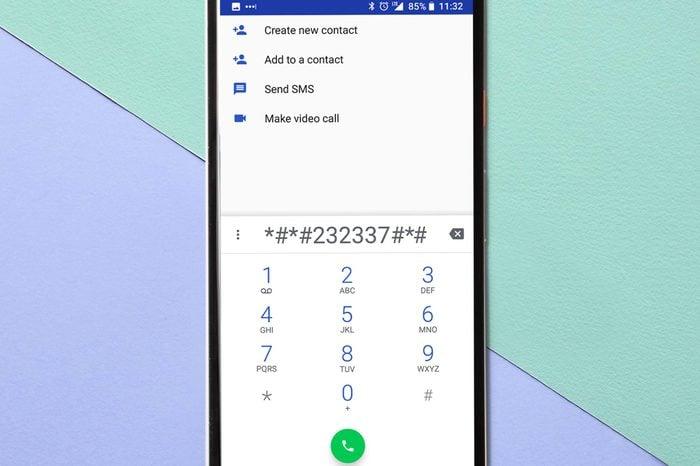 phone on pastel