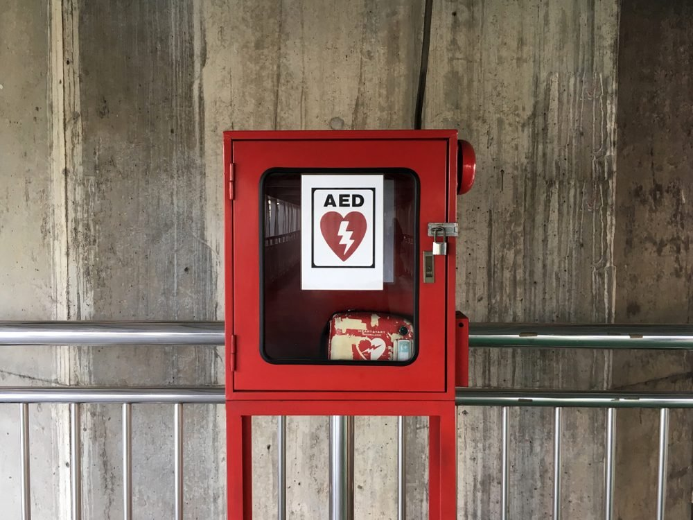 AED - Heart defibrillator in public location for prepared to provide life-saving cardiopulmonary resuscitation.
