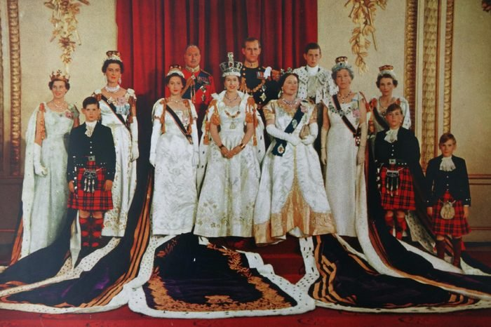 The Royal Family photographed at Buckingham Palace after the Coronation of Queen Elizabeth 1953
