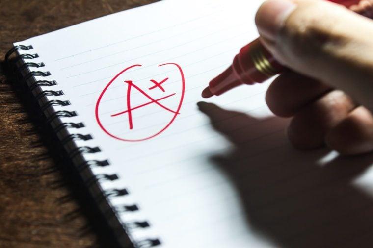 Handwriting Grade A Plus on Notebook