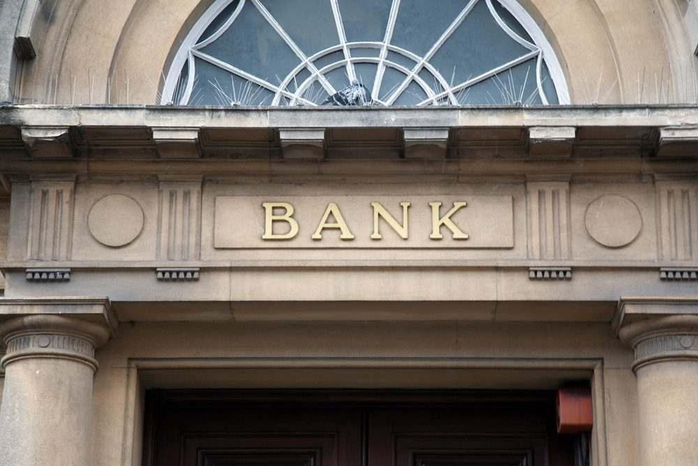 Bank Sign over Entrance Door