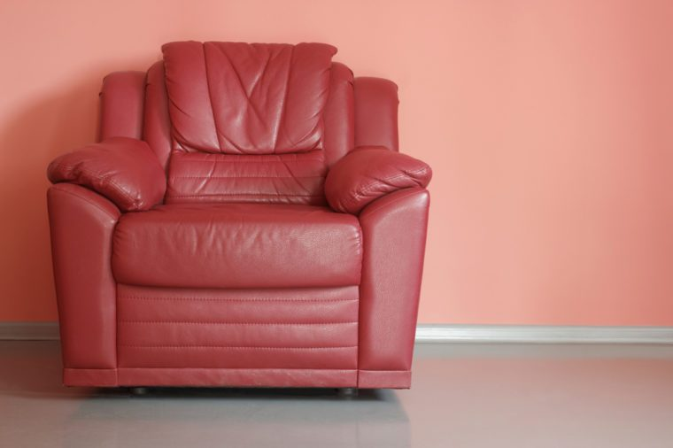 Red armchair in red room