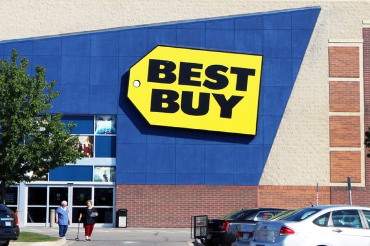 TAYLOR, MI-OCTOBER, 2015: Customers leaving a Best Buy store in this Detroit suburb. Note the glass roof which allows natural light into the store.