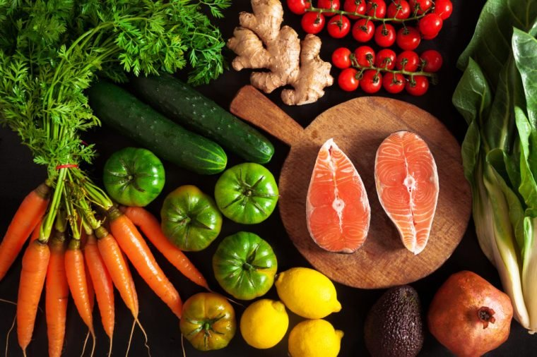 vegetables and fish healthy food background