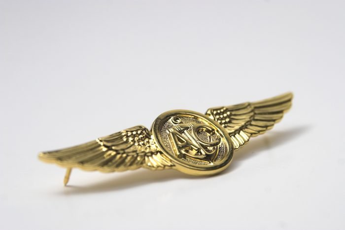 navy aircrew wings on grey background