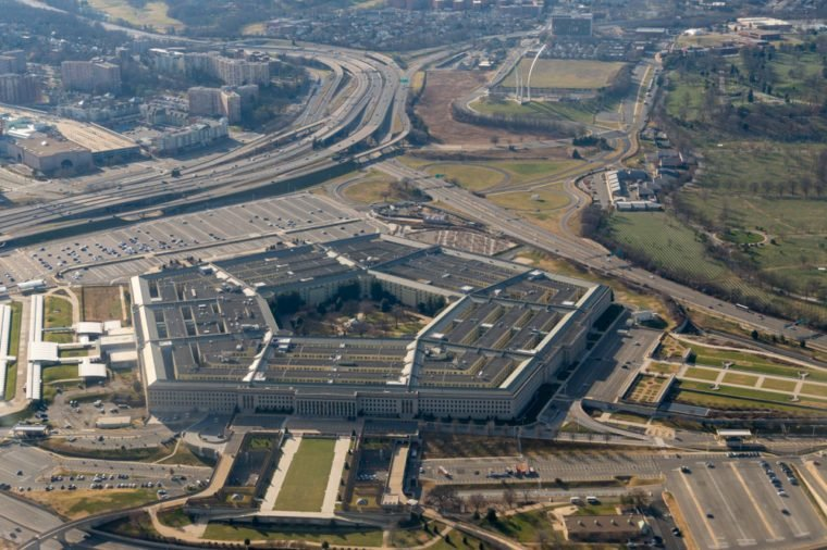 Aerial View of Pentagon and United States Air Force Memorial in Arlington, Virginia