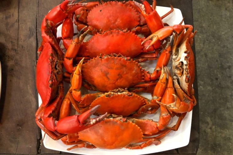 Steamed Crab serve on white disk for Steamed Crab or seafood buffet in Thailand.