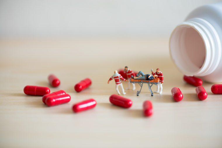 Drog overdose concept. Macro photo