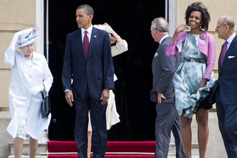 Queen Elizabeth II, US President Barack Obama, Camilla Duchess of Cornwall, Prince Charles, First Lady Michelle Obama and Prince Philip during a welcome ceremony at Buckingham Palace