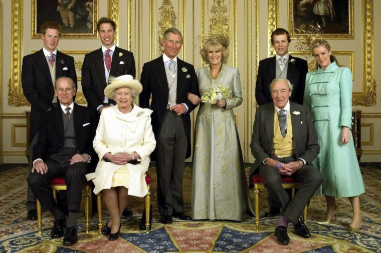 Prince Harry, Prince William, Prince Charles, Camilla Duchess of Cornwall, Laura and Tom Parker Bowles, Prince Philip, Queen Elizabeth II and Major Bruce Shand in the White Drawing Room at Windsor Castle