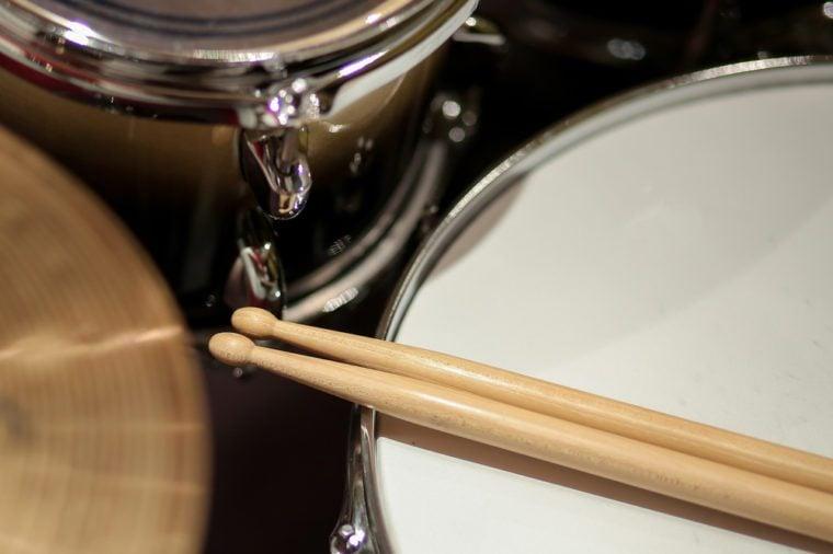 drums closeup and drum sticks.