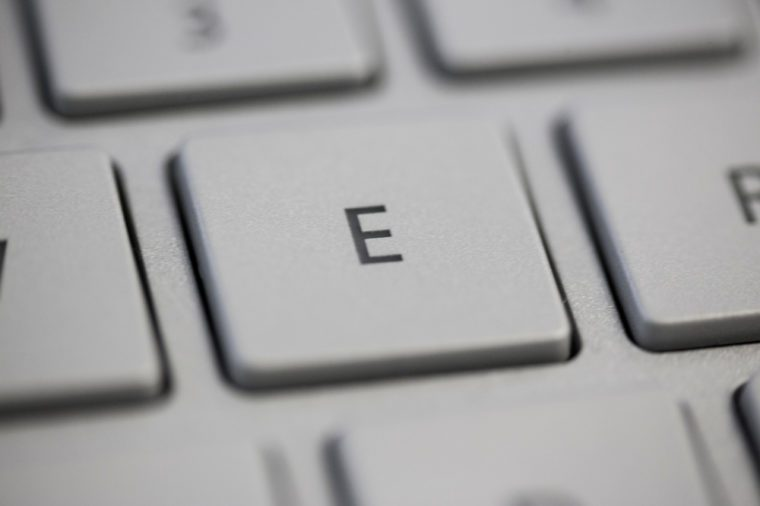 Letters of the alphabet on a Keyboard, E