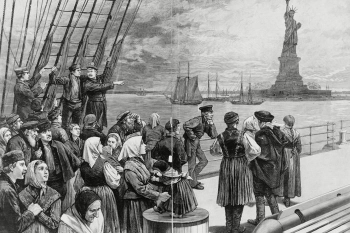 1887 - New York - Welcome to the land of freedom - An ocean steamer passing the Statue of Liberty: Scene on the steerage deck.