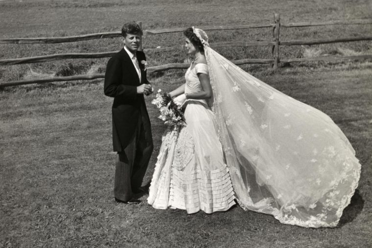 John F. Kennedy and Jacqueline Bouvier on their wedding day, 1953