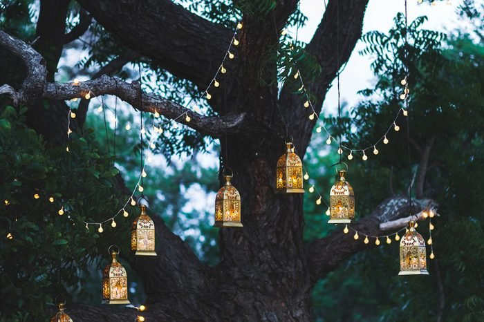 Night wedding ceremony with a lot of candles and vintage lamps on big tree