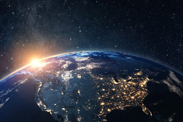 Planet earth from the space at night . Some elements of this image furnished by NASA