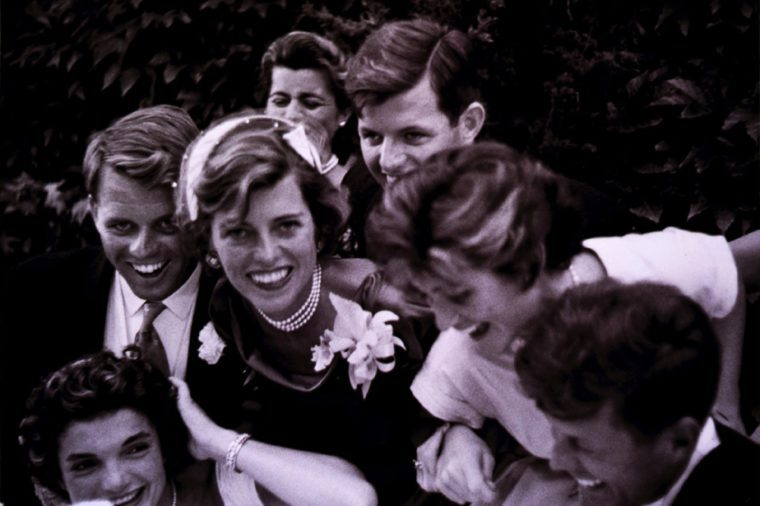 Kennedy-Bouvier wedding, close-up portrait of Kennedy family with couple